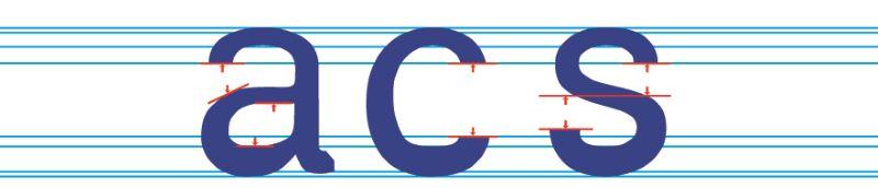 Öffnungen von Buchstaben werden vergrößert