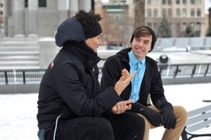 Stottern Gespräch zwischen zwei Personen